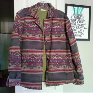 Faherty Flannel Tribal Overcoat Quilted Lining S